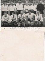 Elftallen , Ned. elftal , witte balk , 1964 , namen spelers voorop
